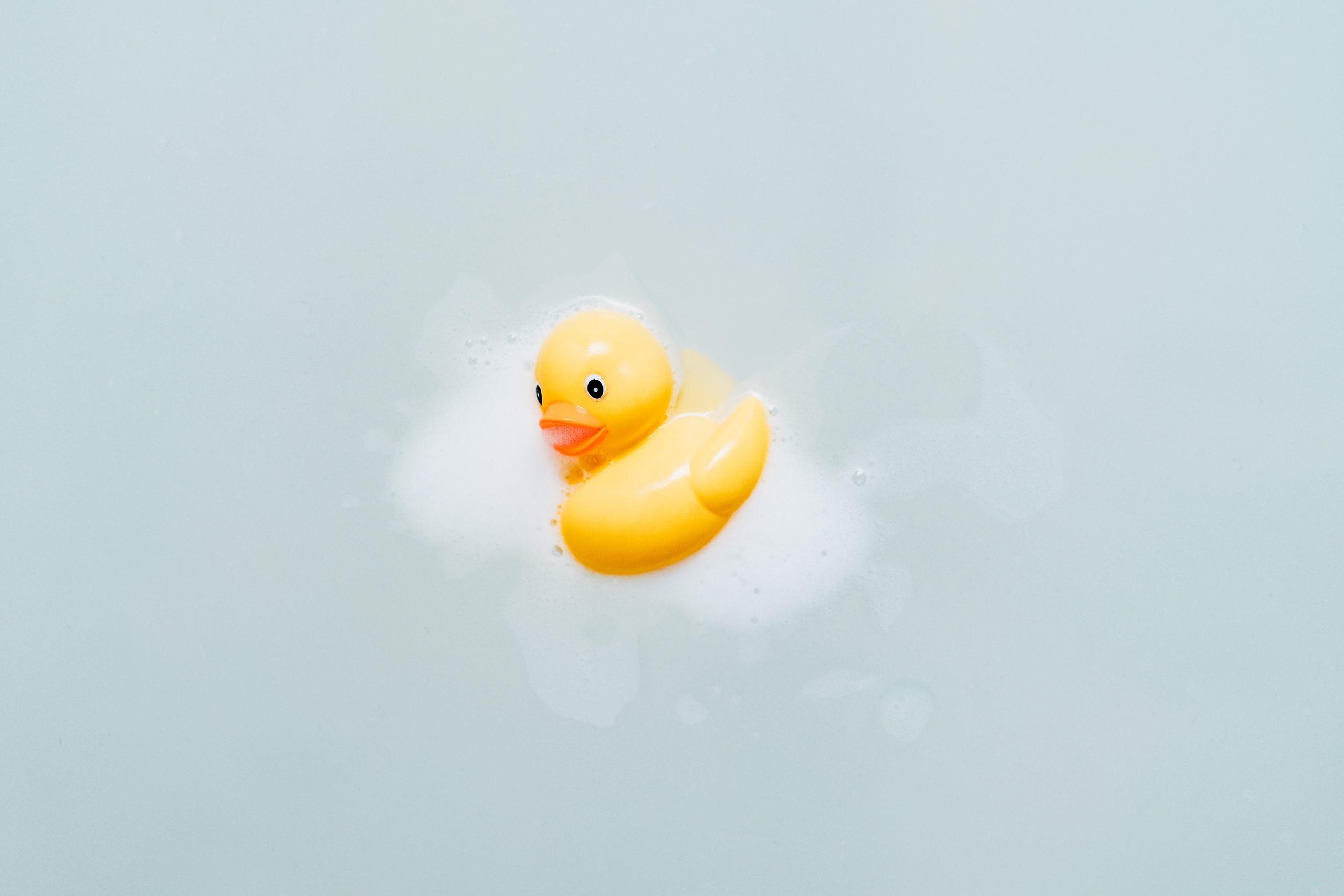 水に浮かんだオモチャのアヒル